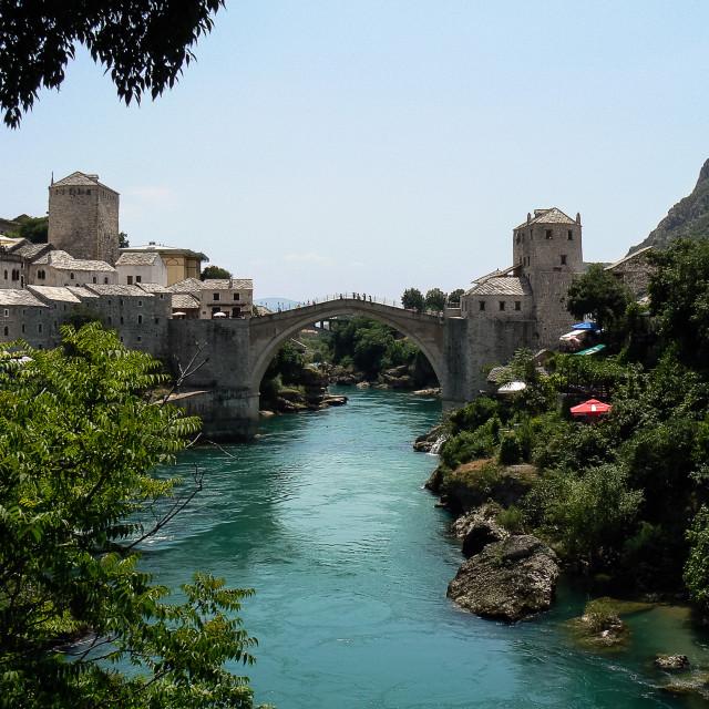 """Stari Most (Old Bridge) over Neretva river, Mostar."" stock image"