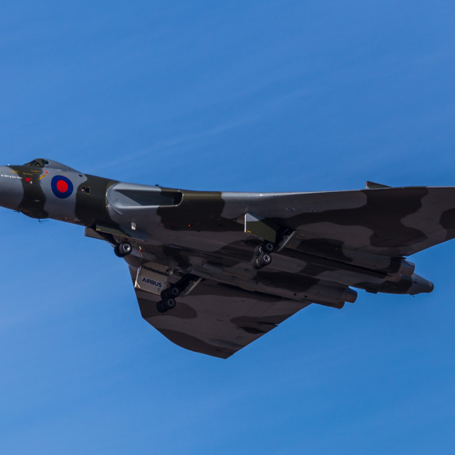 """Avro Vulcan lifts her landing gear"" stock image"