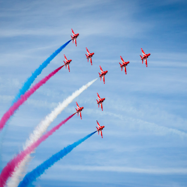 """Red Arrows in ""Concorde"" formation - at the Southport airshow."" stock image"