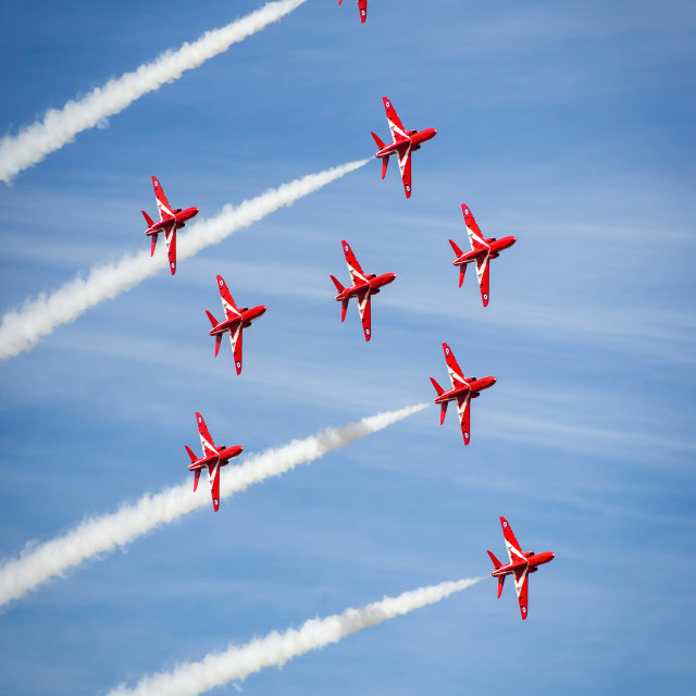"""Red Arrows in ""Angle of the North"" formation - at the Southport airshow."" stock image"