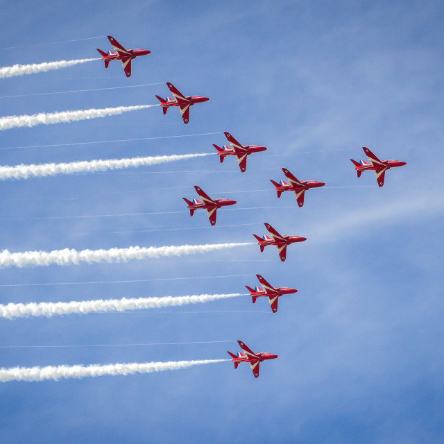 """Red Arrows in ""Big Nine"" formation - at the Southport airshow."" stock image"