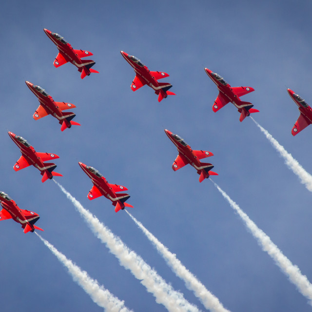 """Red Arrows in ""Big Vixen"" formation - at the Southport airshow."" stock image"
