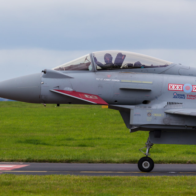 """""""RAF Typhoon holding on the taxiway"""" stock image"""