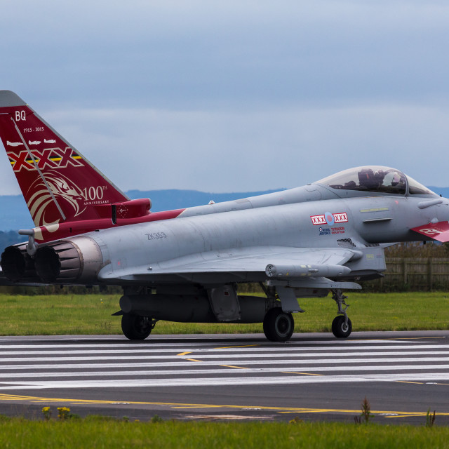 """""""RAF Typhoon pauses at the foot of the runway"""" stock image"""