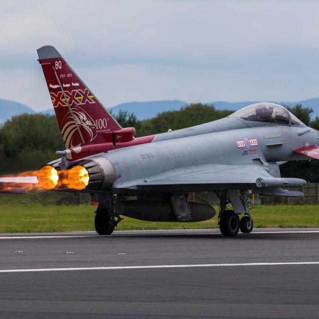 """RAF Typhoon lighting its afterburners"" stock image"