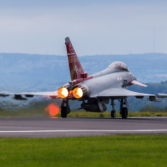 """RAF Typhoon performance takeoff"" stock image"