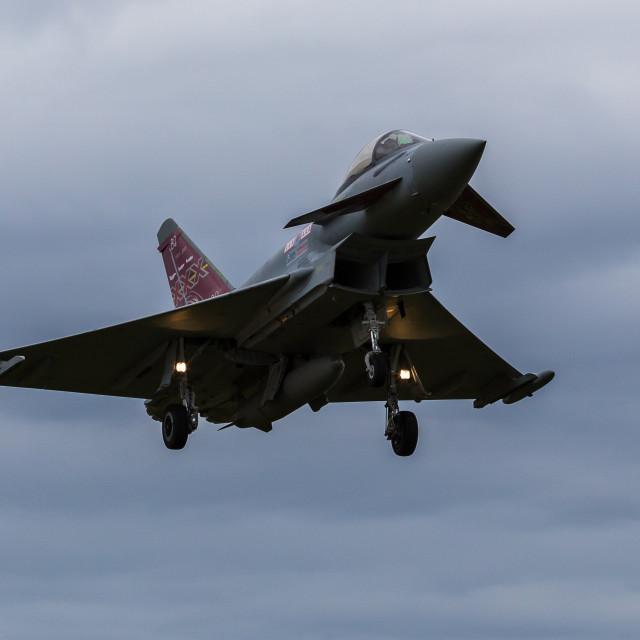 """RAF Typhoon approaching"" stock image"