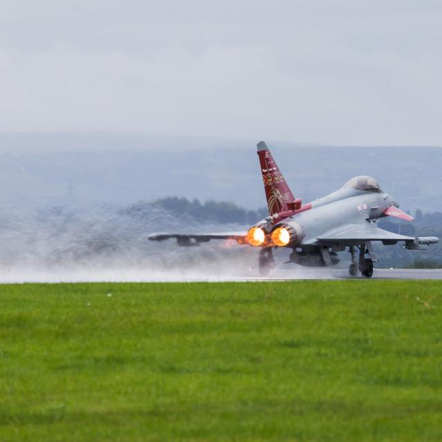 """RAF Typhoon taking off"" stock image"