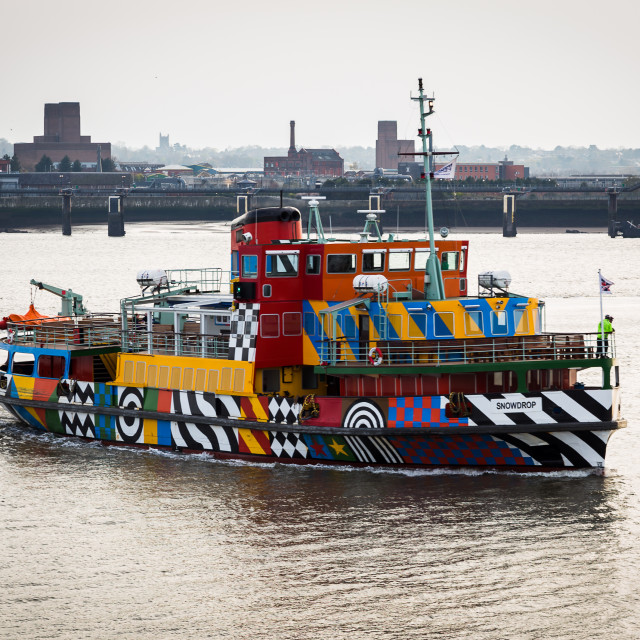 """Dazzle ferry turning in on the Mersey."" stock image"
