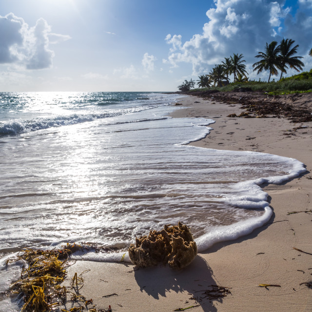 """""""Waves break on a beach in Cayo Coco."""" stock image"""