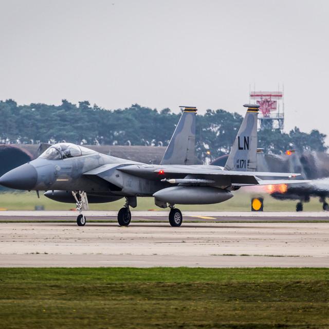 """F-15C's at RAF Lakenheath."" stock image"