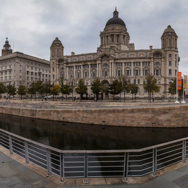 """Panorama of the Three Graces on Liverpool's waterfront."" stock image"