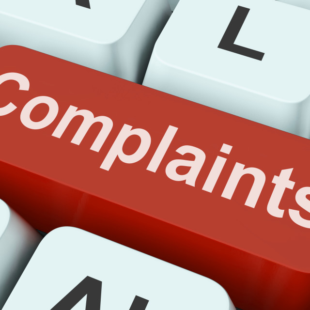 """""""Complaints Key Shows Complaining Or Moaning Online"""" stock image"""