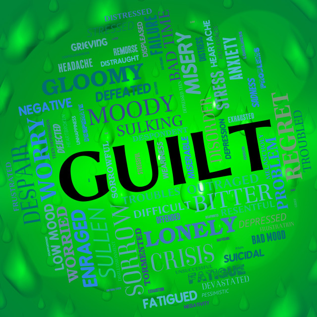 """""""Guilt Word Represents Feels Guilty And Guiltiness"""" stock image"""