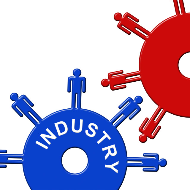 """""""Industry Cogs Represents Gears Gearbox And Collaboration"""" stock image"""