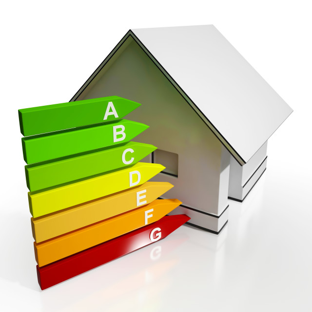 """""""Energy Efficiency Rating And House Shows Conservation"""" stock image"""