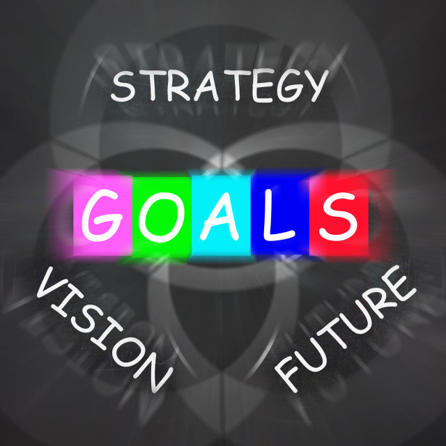 """""""Words Displays Vision Future Strategy and Goals"""" stock image"""