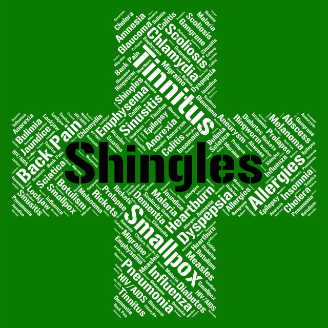 """""""Shingles Word Means Herpes Zoster And Ailment"""" stock image"""