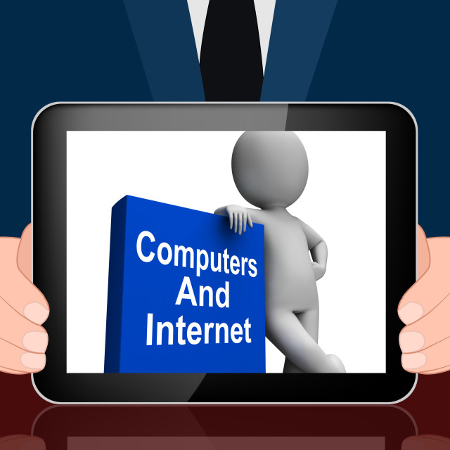 """""""Computers And Internet Book With Character Displays Web Research"""" stock image"""