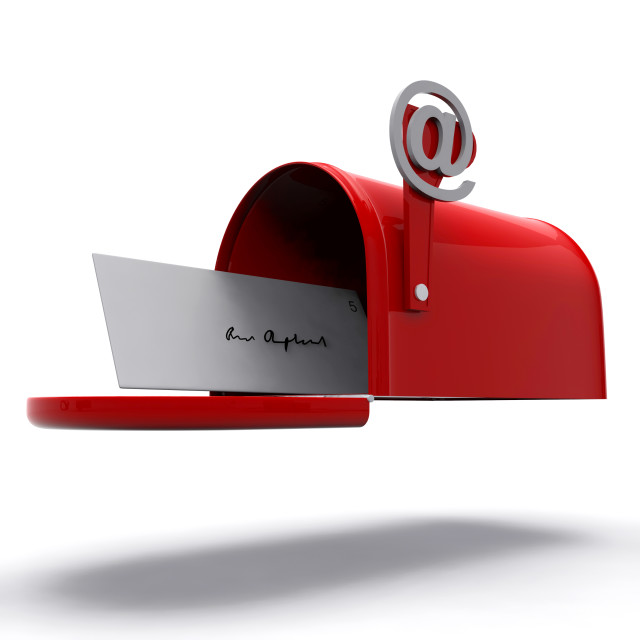 """""""Mail Box Shows E-mail Correspondence"""" stock image"""
