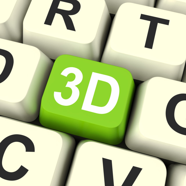 """""""3d Key Shows Three Dimensional Printer Or Font"""" stock image"""