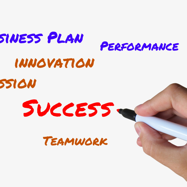 """""""Success on whiteboard Refers to Successful Solutions and Accomplishment"""" stock image"""