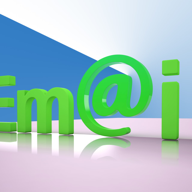 """""""E-mail Letters Shows Emailing Correspondence Or Contacting"""" stock image"""