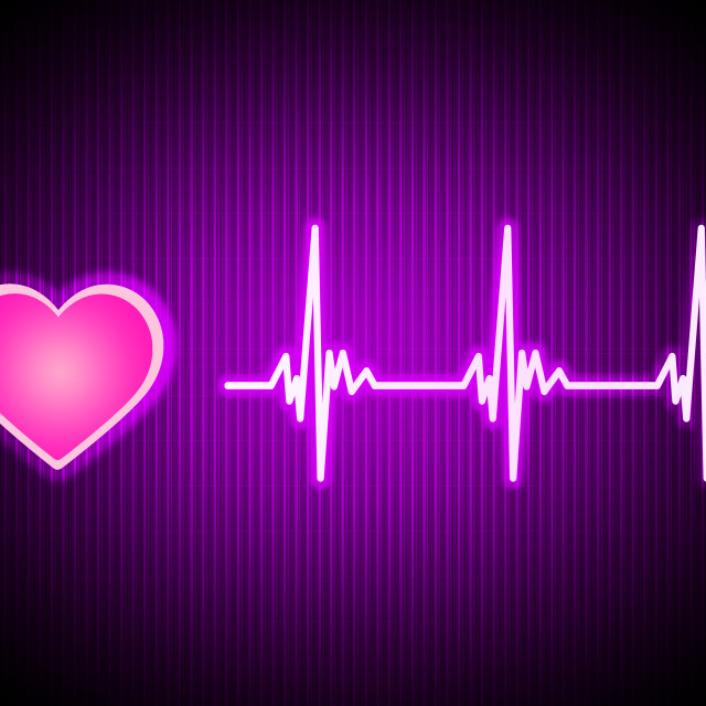 """""""Purple Heart Background Shows Living Cardiac And Health."""" stock image"""