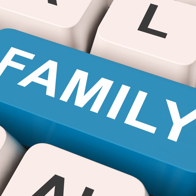 """""""Family Key Means Blood Relation Or Relatives."""" stock image"""