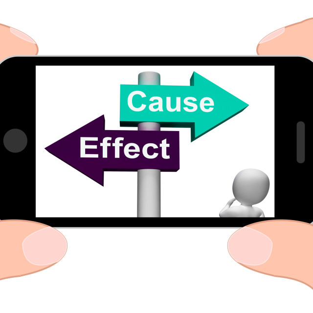 """""""Cause Effect Signpost Displays Consequence Action Or Reaction"""" stock image"""