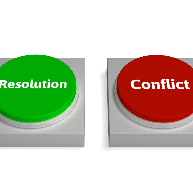 """""""Conflict Resolution Buttons Show Dispute Or Negotiating"""" stock image"""