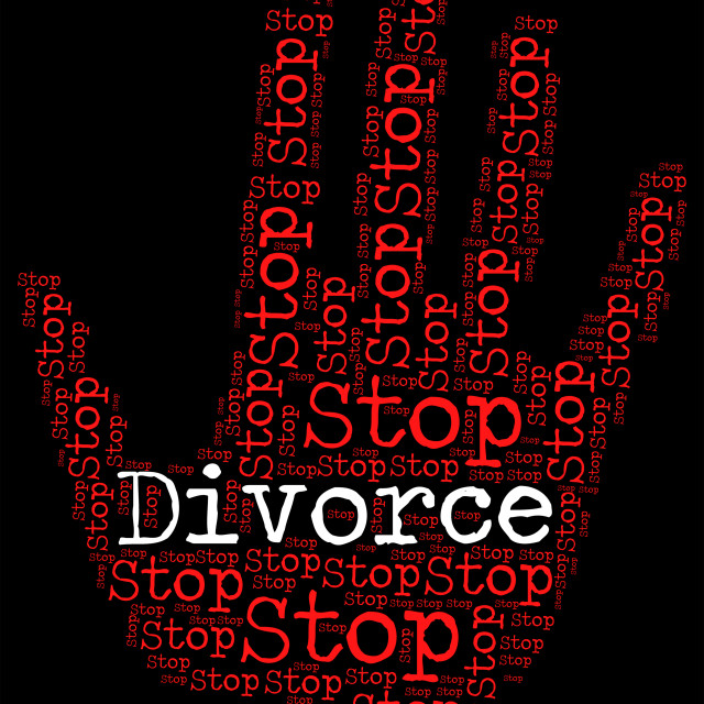 """Stop Divorce Indicates Warning Sign And Annul"" stock image"