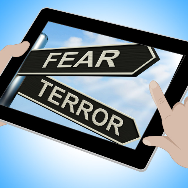 """""""Fear Terror Tablet Shows Frightened And Terrified"""" stock image"""