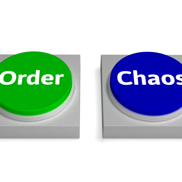 """""""Order Chaos Buttons Shows Orderly Or Messy"""" stock image"""