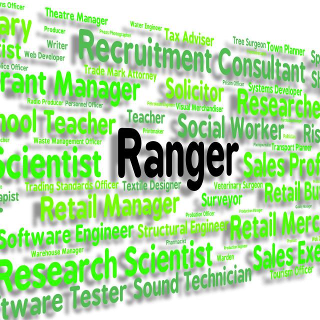 """Ranger Job Represents Policewoman Word And Position"" stock image"