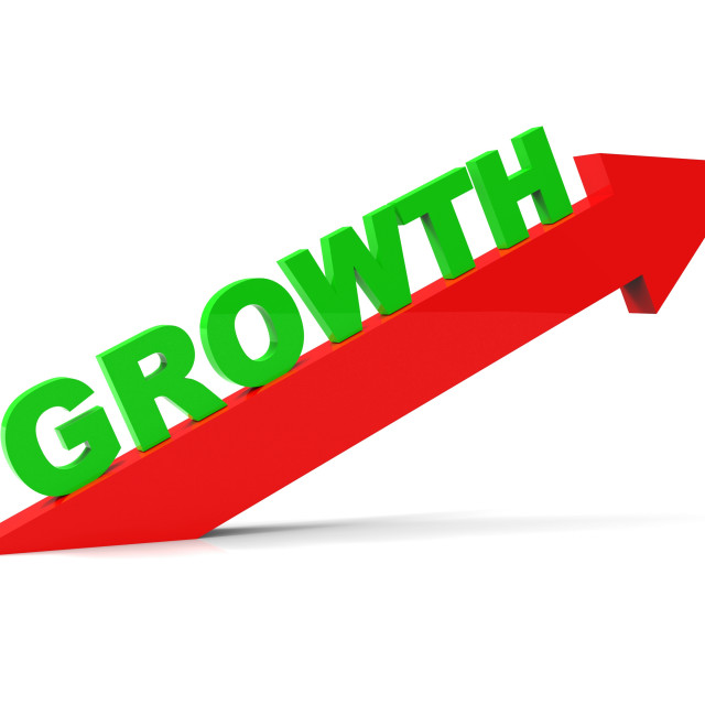 """Increase Growth Indicates Rising Advance And Arrow"" stock image"