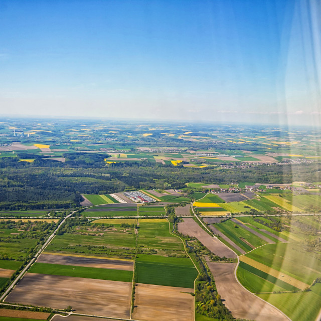 """""""Bavarian landscape from airplane window"""" stock image"""