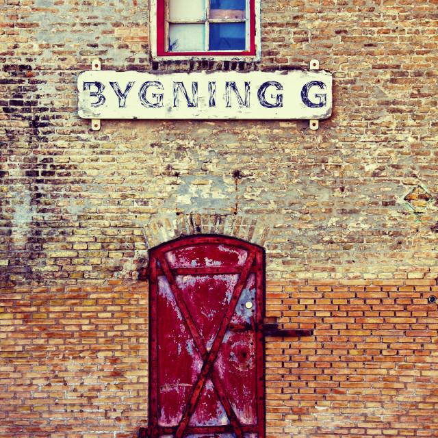"""Copenhagen, Denmark - antique brick warehouse"" stock image"