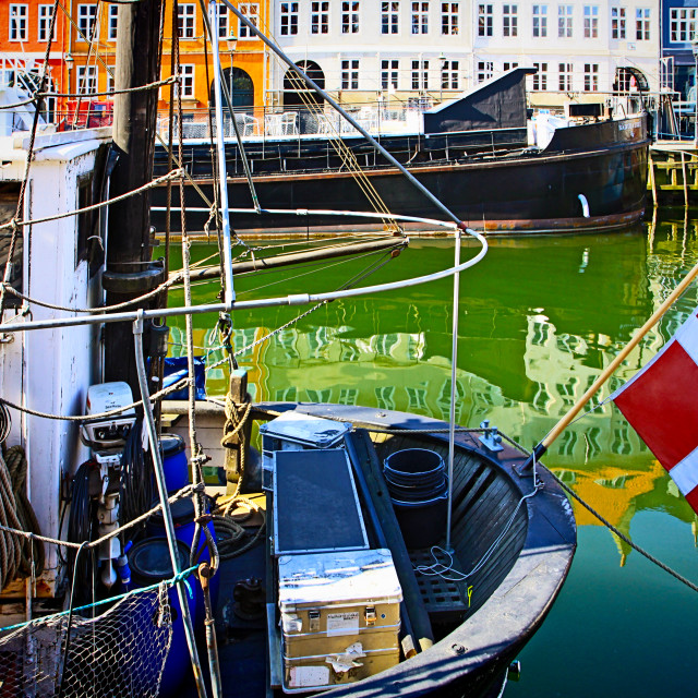 """Copenhagen, Nyhavn harbor famous touristic landmark and entertainment district"" stock image"