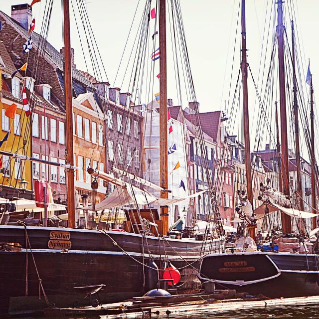 """Copenhagen, Nyhavn famous landmark and entertainment district"" stock image"