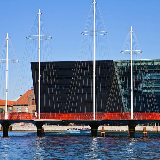 """Copenhagen Denmark: the Circle Bridge and the Black Diamond"" stock image"