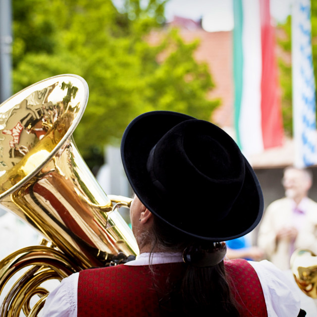 """""""Garching, Germany - open air brass orchestra concert"""" stock image"""