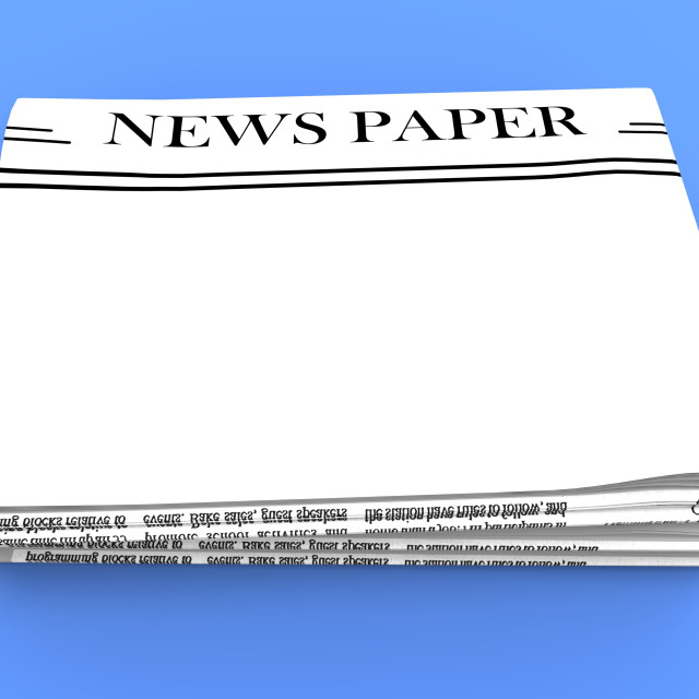 """""""Blank Newspaper With Copy Space Shows News Media Headline"""" stock image"""