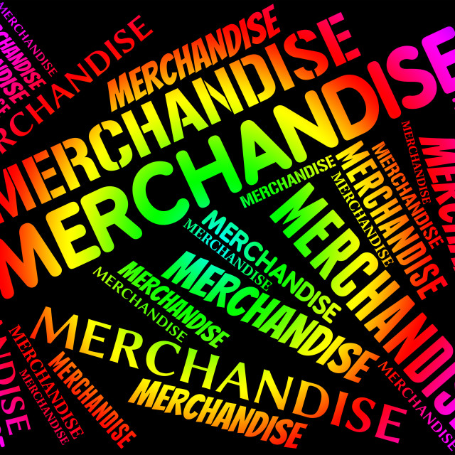 """Merchandise Word Means Product Buy And Stocks"" stock image"
