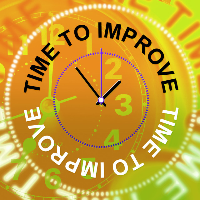 """Time To Improve Represents Improvement Plan And Upgraded"" stock image"