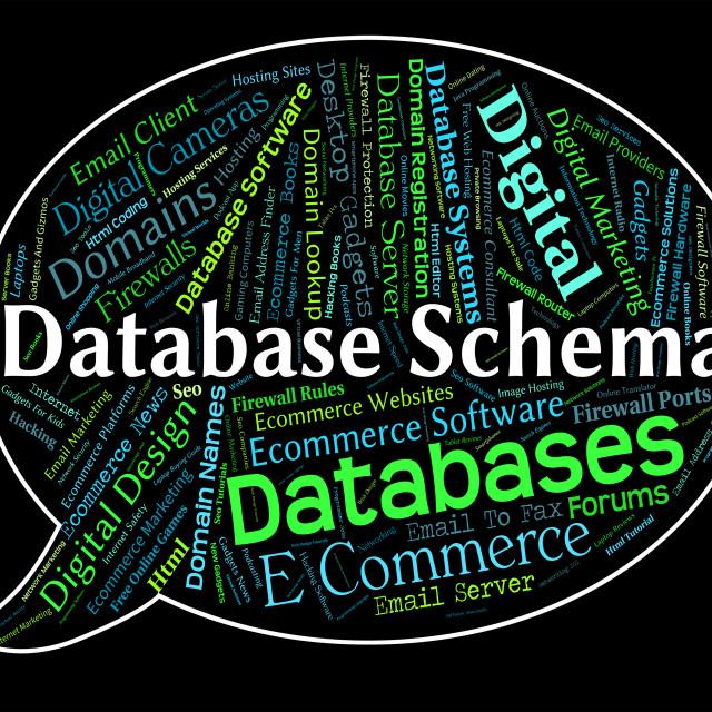 """Database Schema Indicates Schematics Words And Word"" stock image"