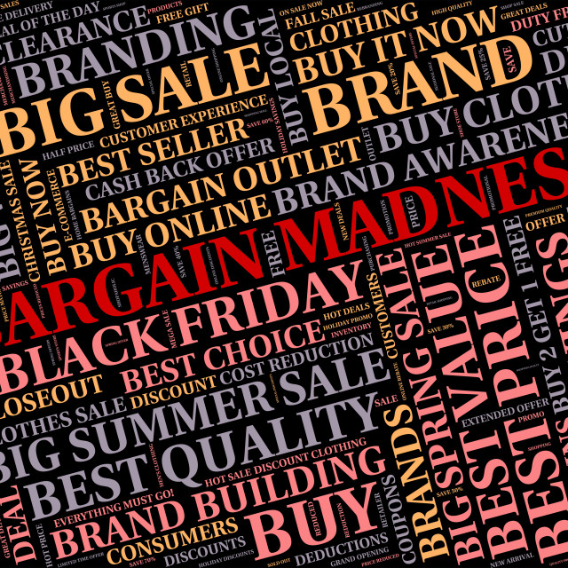 """""""Bargain Madness Shows Discount Crazy And Sale"""" stock image"""