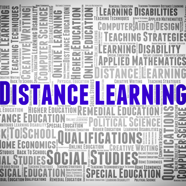 """""""Distance Learning Words Represents Study Text And Education"""" stock image"""