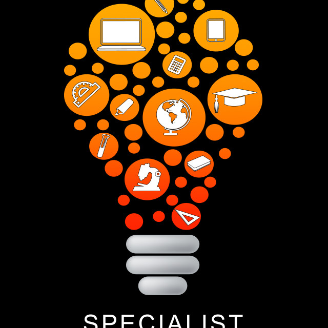 """Specialist Lightbulb Indicates Power Source And Expertise"" stock image"