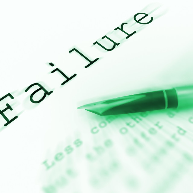 """""""Failure Word Displays Unsuccessful Deficient Or Underachieving"""" stock image"""